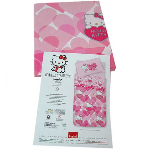 Lenzuola Di Hello Kitty.Completo Lenzuola Hello Kitty Gabel Singolo Una Piazza Sweet Hearts G336