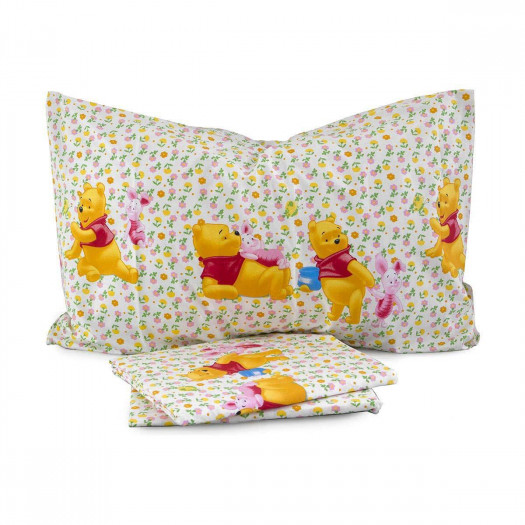 Lenzuola Lettino Winnie The Pooh.Completo Lenzuola Love Winnie The Pooh Disney Caleffi Singolo Una Piazza Q411