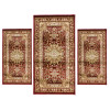 Set parure tappeto scendiletto 3 pezzi obama artemis bordeaux